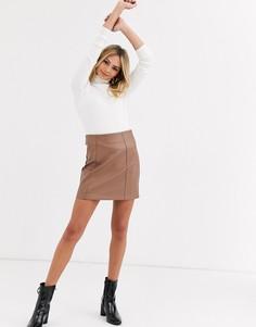 Бежевая мини-юбка из искусственной кожи New Look-Светло-коричневый