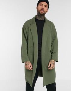 Легкая трикотажная oversize-куртка цвета хаки с рваной отделкой ASOS DESIGN-Зеленый