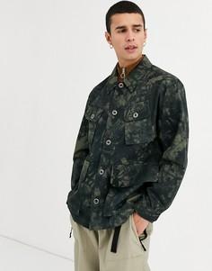 Куртка с камуфляжным принтом ASOS DESIGN-Зеленый
