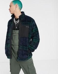 Синяя/зеленая плюшевая куртка в клетку ASOS DESIGN-Синий