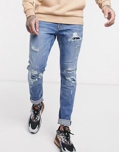 Голубые джинсы скинни с рваной отделкой Topman-Синий