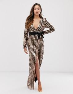 Платье макси с глубоким вырезом, запахом и пайетками Club L London-Мульти