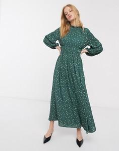 Платье макси с плиссировкой и геометрическим принтом Selected Femme-Мульти