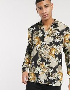 Черная рубашка с длинными рукавами и принтом тигров Topman-Черный
