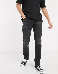 Суженные книзу джинсы с рваной отделкой Nudie Jeans-Черный