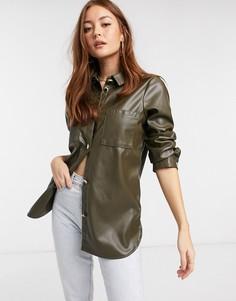 Oversized рубашка цвета хаки из искусственной кожи River Island-Зеленый
