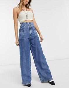 Широкие джинсы с завышенной талией We The Free by Free People-Синий