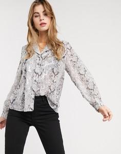 Прозрачная блузка с серебристым змеиным принтом Outrageous Fortune-Мульти