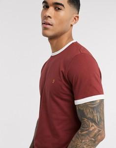 Красная узкая футболка с контрастной отделкой Farah-Красный