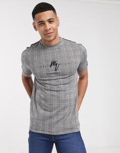Серая обтягивающая футболка в клетку River Island-Серый