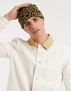 Коричневая шапка-бини с леопардовым принтом ASOS DESIGN-Коричневый