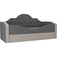 Детская кровать АртМебель Скаут рогожка серый бежевый