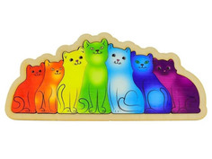 Сортер Развивающая доска Нескучные игры Разноцветные котята Радуга 7932