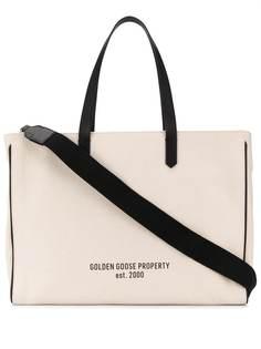 Golden Goose парусиновая сумка-тоут с принтом