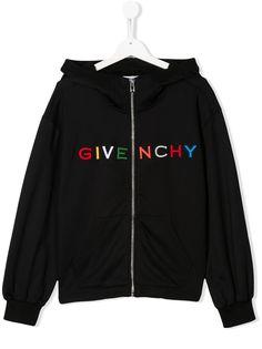 Givenchy Kids худи на молнии с длинными рукавами и логотипом