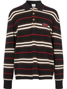Burberry трикотажная рубашка-поло Icon в полоску