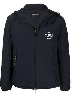 Emporio Armani куртка на молнии с капюшоном и логотипом