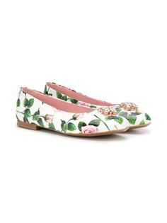Dolce & Gabbana Kids балетки с цветочным принтом