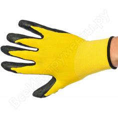 Вязаные нейлоновые перчатки с рельефным латексным покрытием gigant 12 шт. g-169