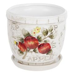 Горшок цветочный с поддоном Dehua ceramic apple d15