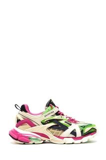 Розово-зелено-белые кроссовки Track.2 Balenciaga