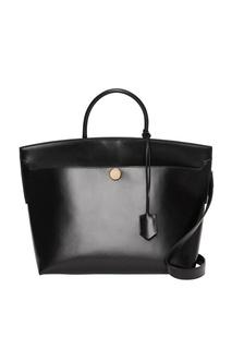 Черная кожаная сумка с одной ручкой Burberry