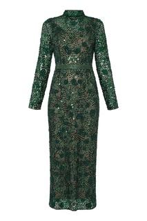 Зеленое платье с вышивкой и пайетками Alexander Terekhov
