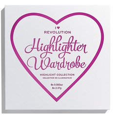MakeUp Revolution, Палетка хайлайтеров для лица I Heart Makeup Highlighter Wardrobe, 19 гр