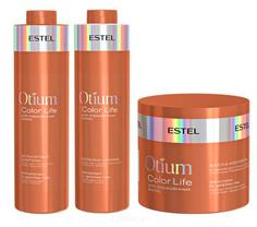 Estel, Otium Color Life Набор для окрашенных волос Эстель (шампунь, бальзам, маска), 1000/1000/300 мл
