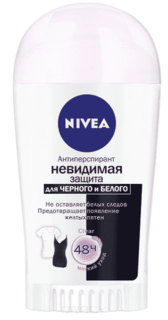 Nivea, Дезодорант-антиперспирант стик Невидимая защита для черного и белого Clear, 40 мл