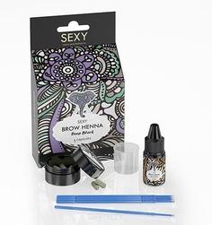 Sexy Brow Henna, Розничный набор Черная хна для бровей (5 капсул) + минеральный раствор 10 мл