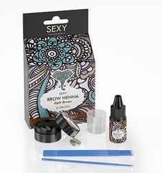 Sexy Brow Henna, Розничный набор Светло-коричневая хна для бровей (5 капсул) + минеральный раствор 10 мл
