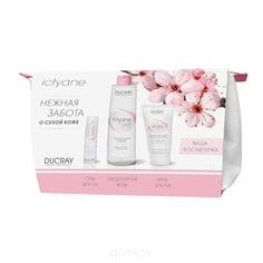 Ducray, Набор Ictyane в косметичке: Мицеллярная вода + Крем для рук + Увлажняющий стик для, 200 мл + 50 мл + 3 гр