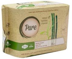 Pure, Прокладки гигиенические женские с углем бамбуковые, ночные Bamboo Night, 28 см, 8 шт