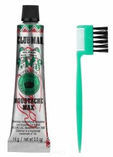 Clubman, Воск для укладки и подкрашивания бороды с щеточкой Moustache Wax Black, 15 мл (4 цвета), 15 мл (коричневый)