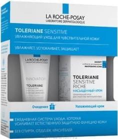 La Roche Posay, Набор: Риш насыщенный крем + Очищающий гель-уход Toleriane, 40/50 мл