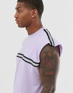 Сиреневая удлиненная oversize-футболка без рукавов с отделкой светоотражающим кантом ASOS DESIGN-Фиолетовый