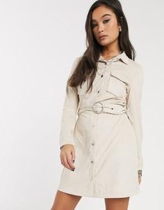 Платье-рубашка мини из искусственной замши с поясом Bershka-Кремовый