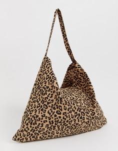 Сумка-тоут с леопардовым принтом Vero Moda-Коричневый