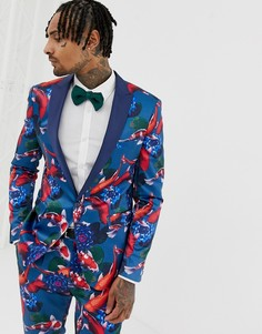 Приталенный пиджак с принтом ASOS DESIGN-Синий