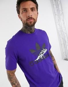 Фиолетовая футболка с логотипом-трилистником adidas Originals-Синий