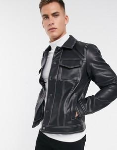 Черная куртка из искусственной кожи со строчками River Island-Черный