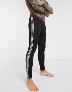 Черные брюки базового слоя с полосками Helly Hansen-Черный
