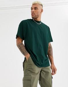 Зеленая длинная oversize-футболка с круглым вырезом ASOS DESIGN-Зеленый