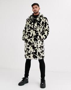 Пальто из искусственного меха с леопардовым принтом Urbancode-Белый
