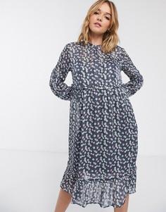 Платье мини с цветочным принтом Levete Room-Синий
