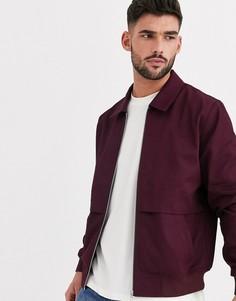 Бордовая куртка Харрингтон с отлетной вентиляцией ASOS DESIGN-Красный