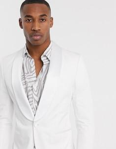 Белый смокинг с атласными лацканами наклонной формы Jack & Jones Premium