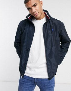 Темно-синяя куртка-дождевик со складывающимся капюшоном и логотипом Polo Ralph Lauren-Темно-синий