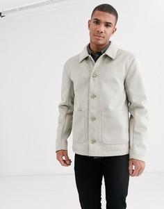 Светло-бежевая куртка из искусственной замши ASOS DESIGN-Бежевый